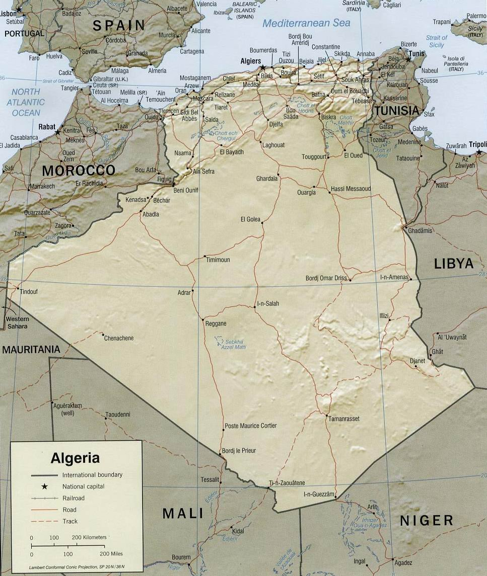 Географическая карта Алжира