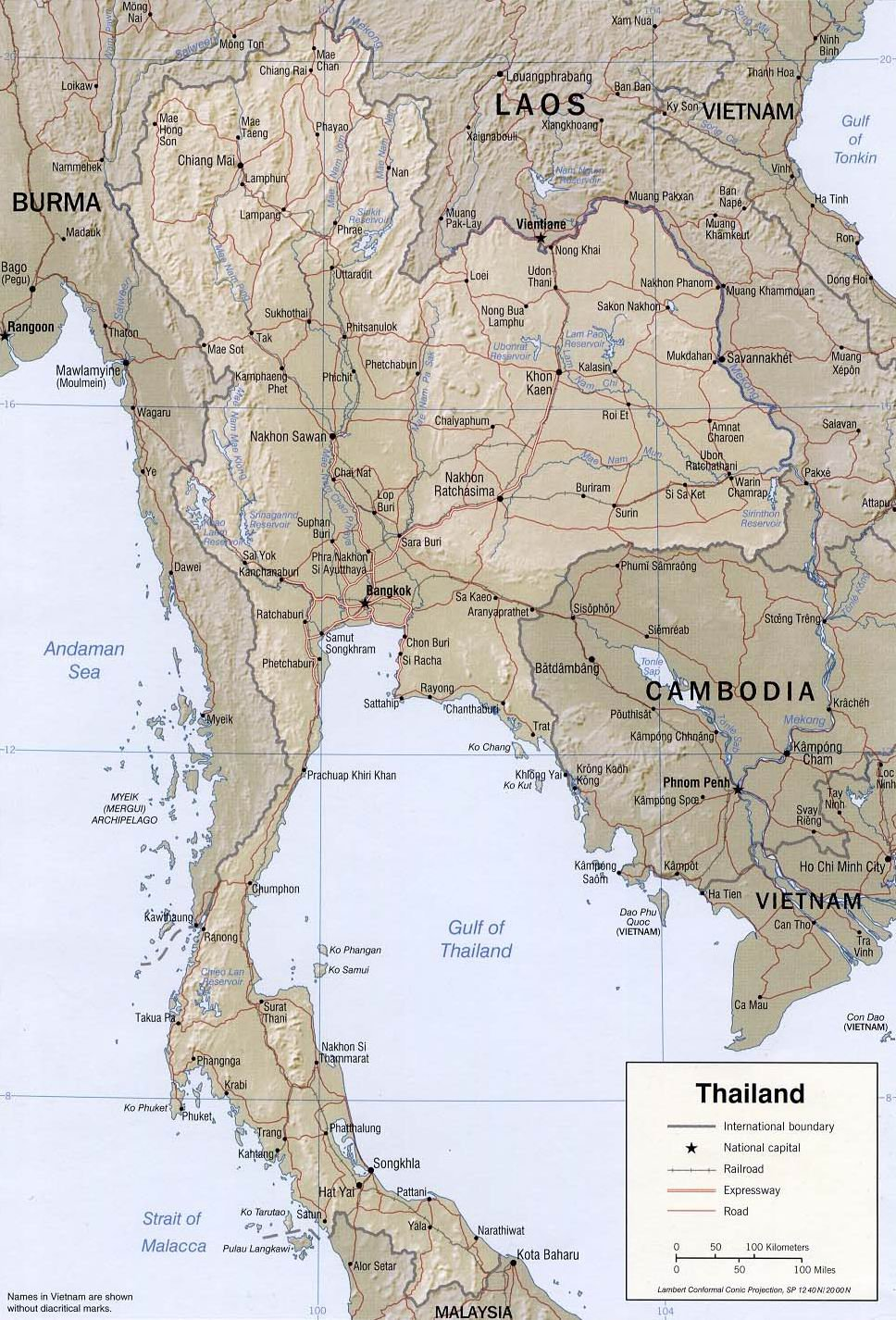 Подробная карта Таиланда с рельефом и реками