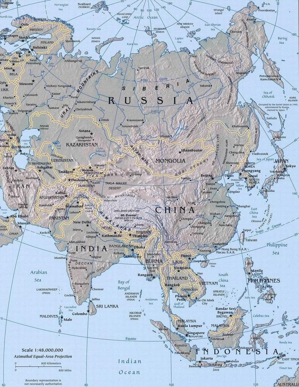Карта Азии с рельефом континента и границами стран
