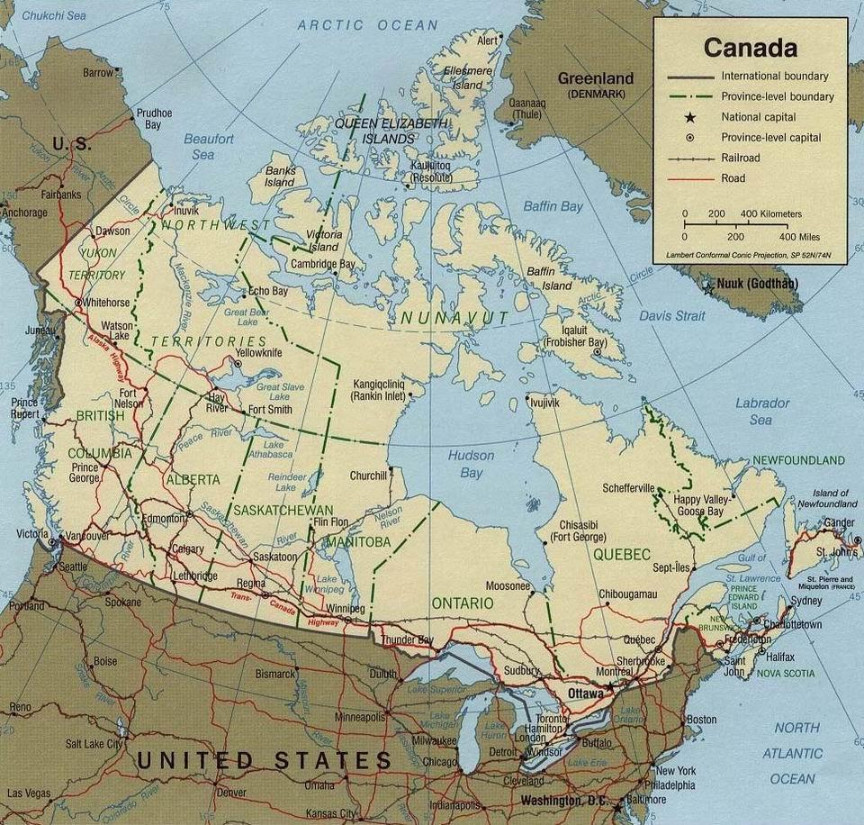 Физическая карта Канады