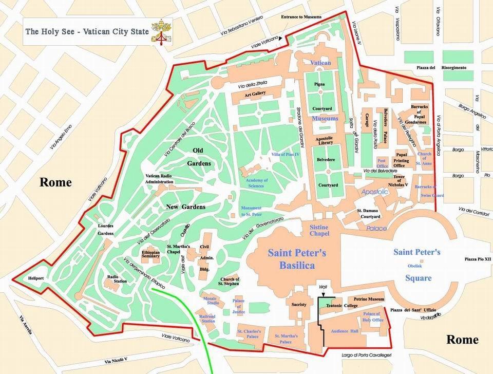 Подробная карта Ватикана