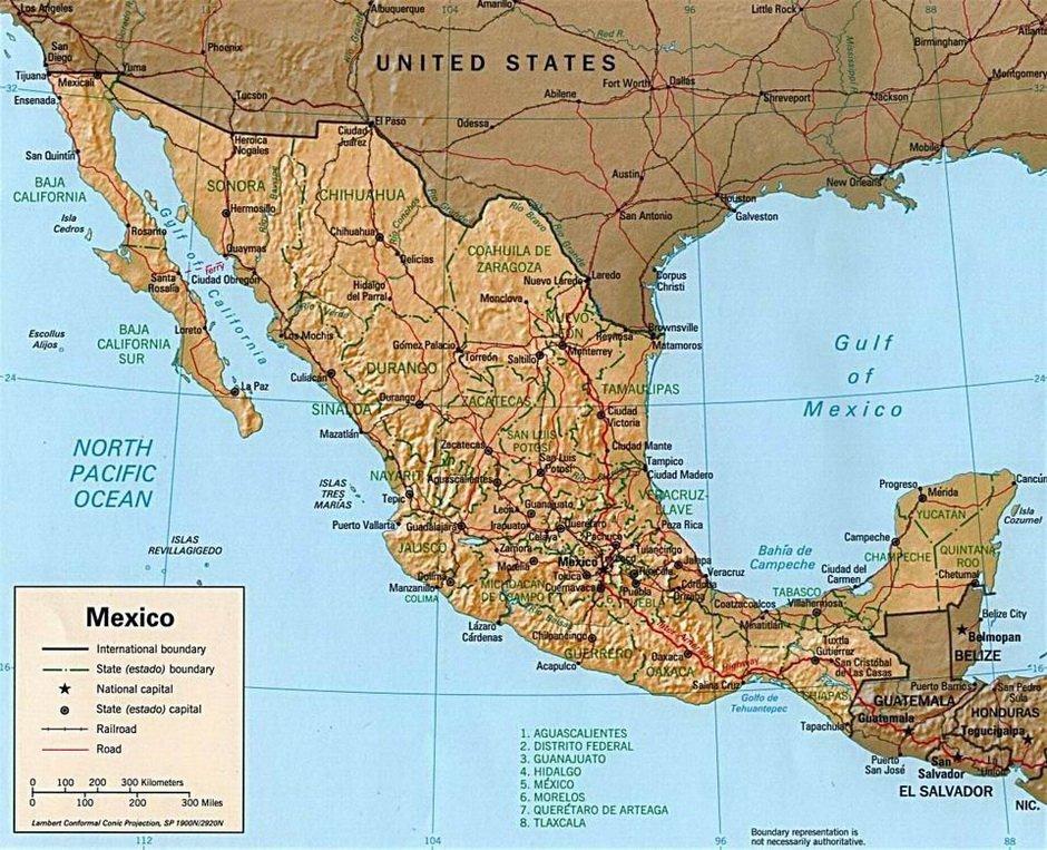 Физическая карта Мексики