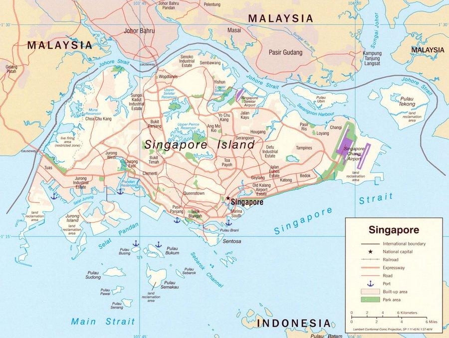 Географическая карта Сингапура