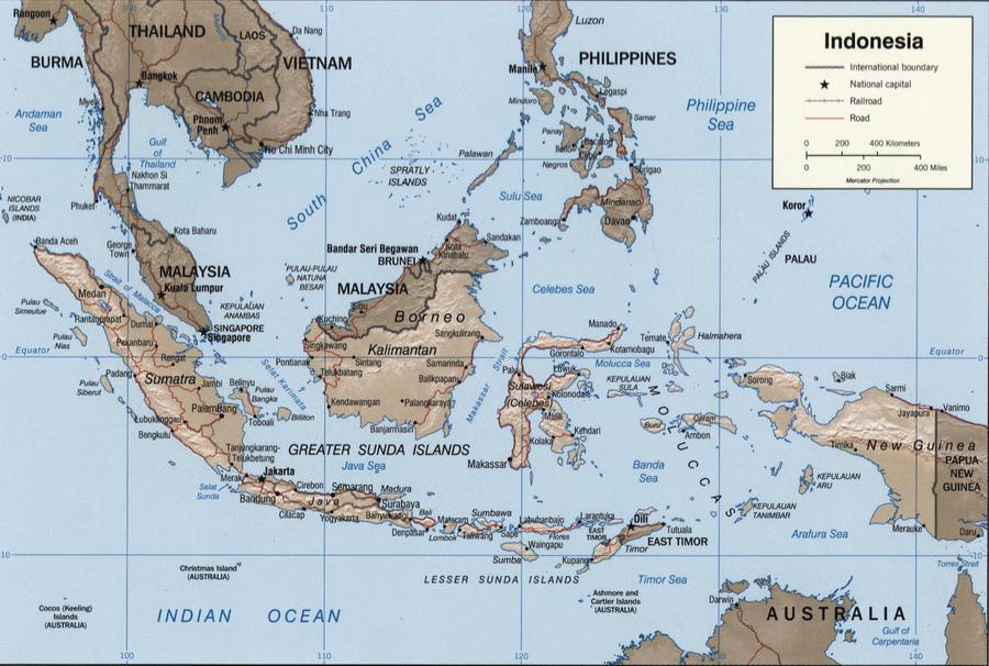 Географическая карта Индонезии