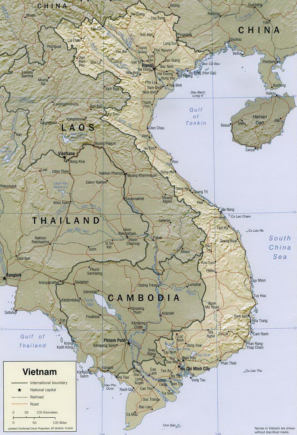 Географическая карта Вьетнама