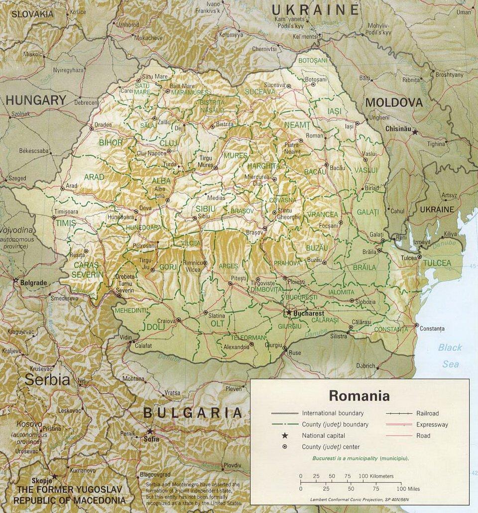 Карта Румынии