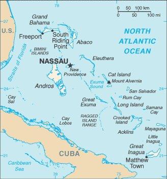 Карта Багамских островов