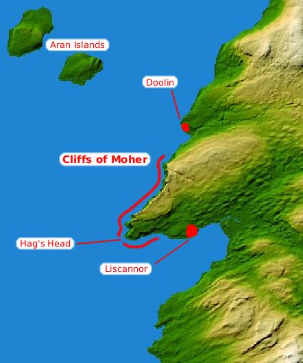Карта утесов Мохера