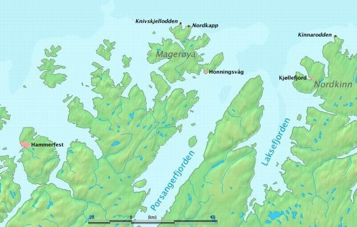 Нордкап, карта