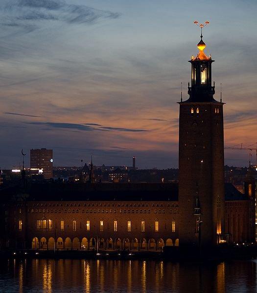 Стокгольмская ратуша ночью