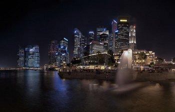 Панорама Сингапура, Мерлайон, фото chensiyuan