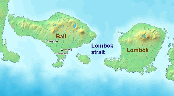 Карта Ломбока и Бали