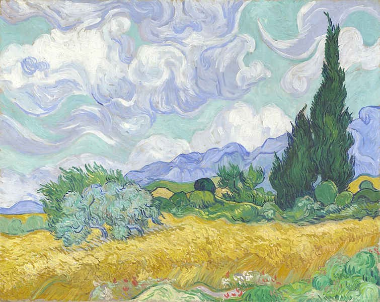 """""""Пшеничное поле и кипарисы"""", Винсент Ван Гог, Национальная галерея"""