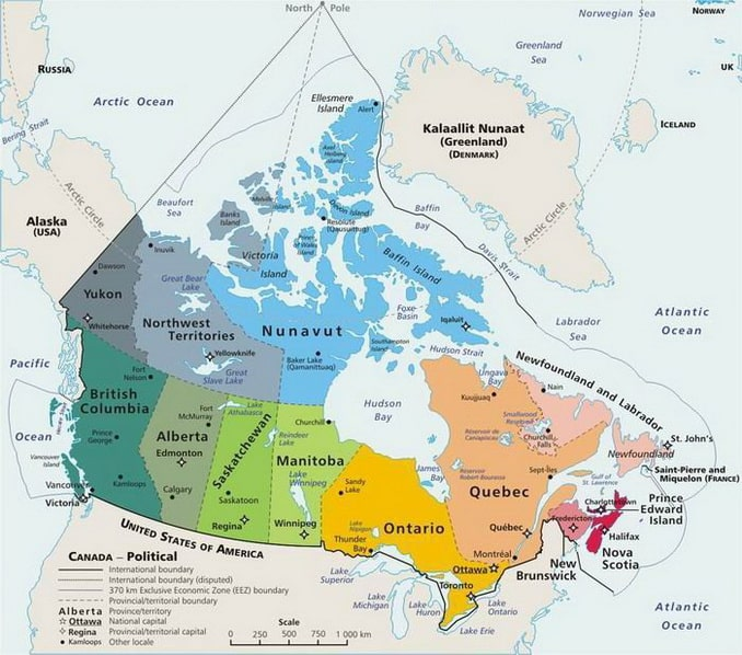 Провинции Канады на карте