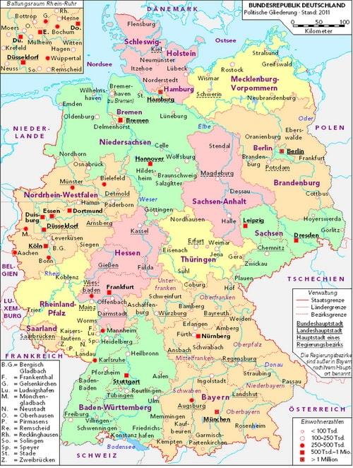 Карта земель Германии, Korny78 / Wikimedia Commons