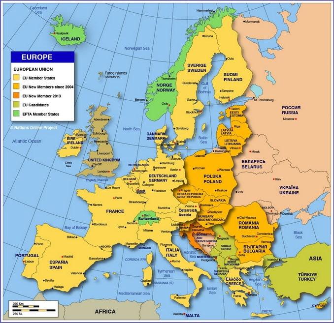 Карта стран Европы, nationsonline.org