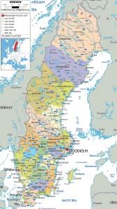 Карта Швеции, ezilon.com