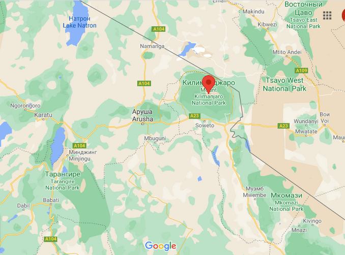 Килиманджаро на карте Танзании