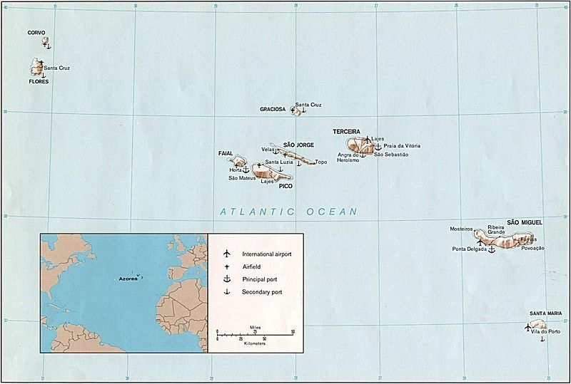 Азоры на карте