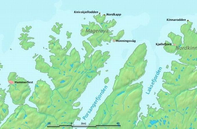 Кнившелльодден и Нордкапп на карте