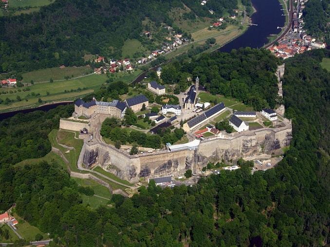 Крепость Кёнигштайн в Германии, общий вид