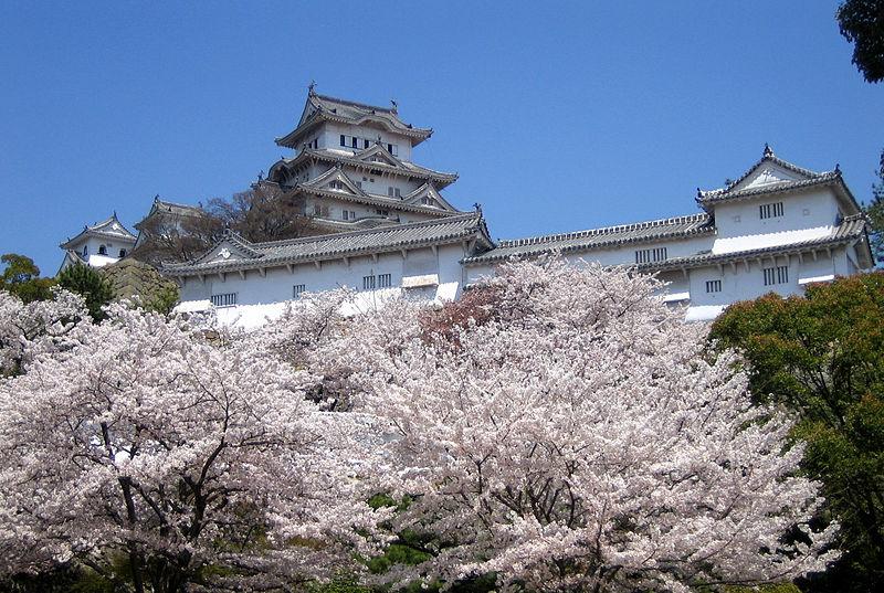Замок Химедзи на фоне цветущей сакуры