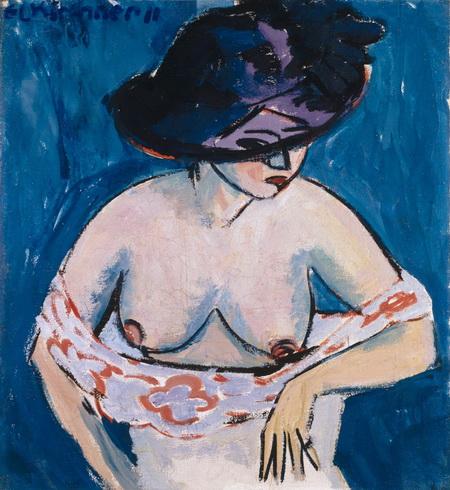 Полуобнаженная женщина в шляпе, Эрнст Людвиг Кирхнер