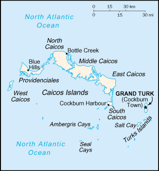 Карта Теркс и Кайкос