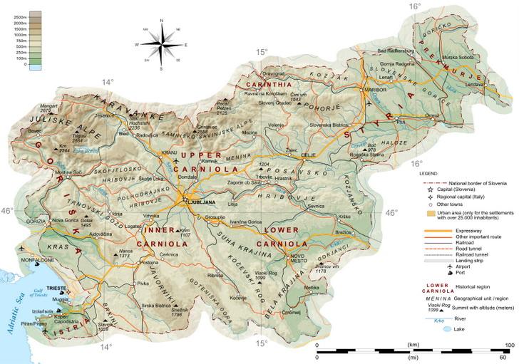 Топографическая карта Словении