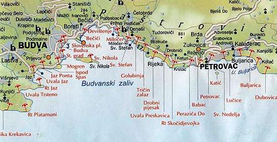 Карта курортов Черногории, o-montenegro.ru