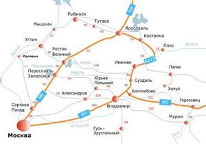 Города Золотого кольца - карта, kudapoletet.com