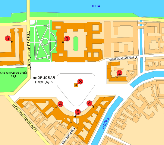План-схема Дворцовой площади в Санкт-Петербурге