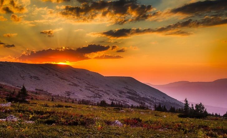 Горы, рассвет, Россия