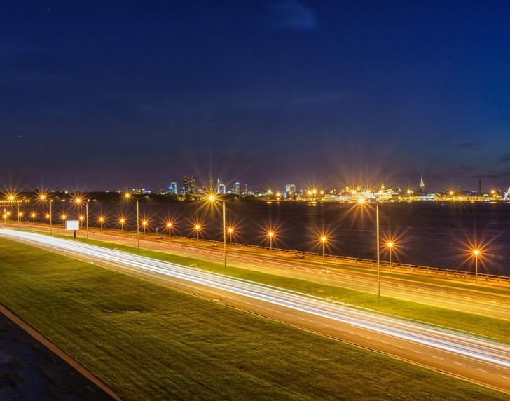 Таллин, ночная дорога