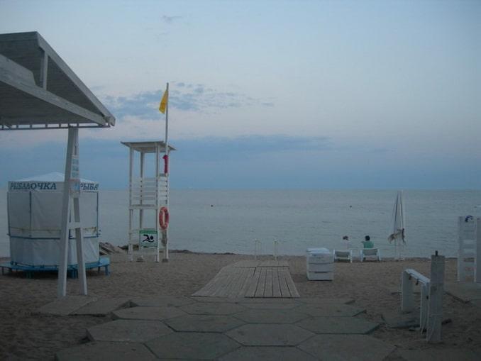 Пляж в Евпатории, вечер, Крым