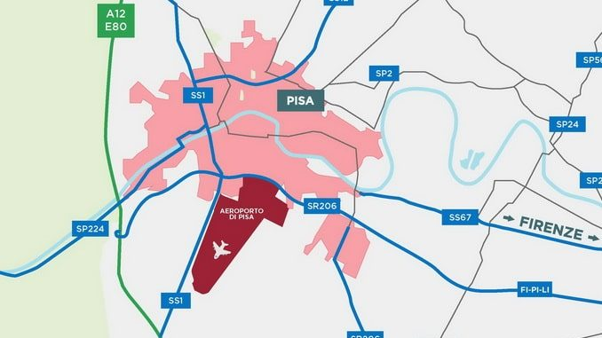 Аэропорт Пизы на карте