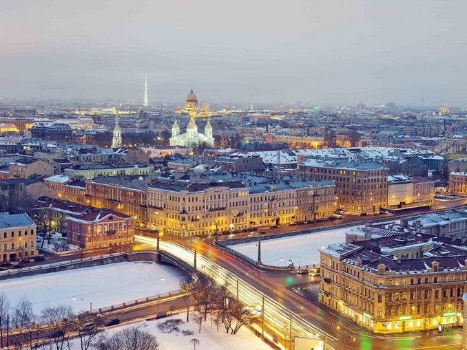 Санкт-Петербург в январе, вид из гостиницы AZIMUT