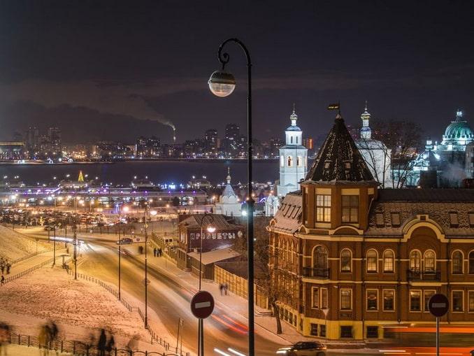 Казань в январе, вечер