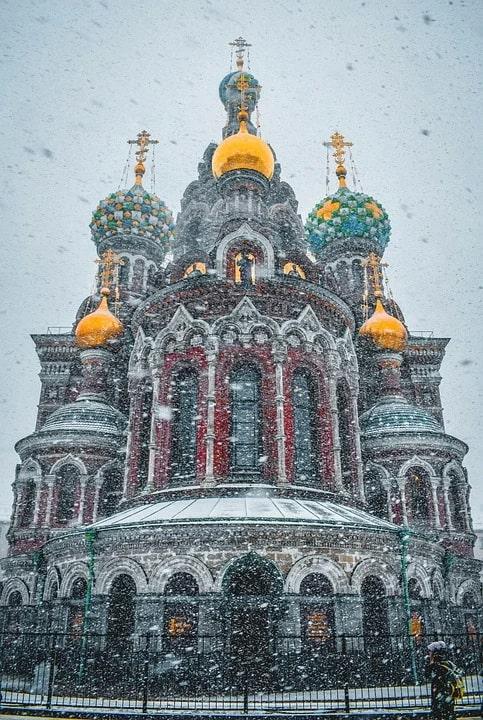 Храм Спаса-на-Крови - метель в Питере в январе