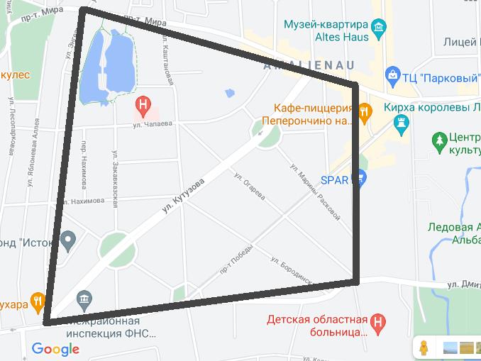 Район Амалиенау на карте