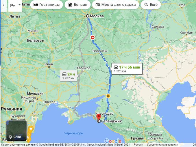 Маршрут поездки Москва-Геленджик на машине