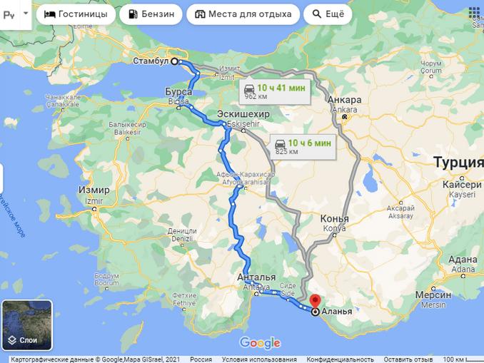 Маршруты и расстояние Стамбул-Алания на карте